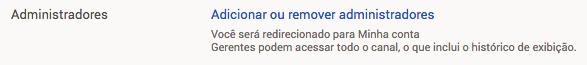 adicionar ou remover administradores youtube
